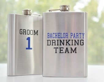 Bachelor Party Drinking Team Flask - Personalized Groomsman Gift