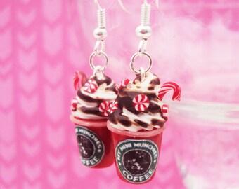 Peppermint Mocha Frap Blended Drink Polymer Clay Earrings, Miniature Clay Dessert Food Jewelry, Hook Earrings