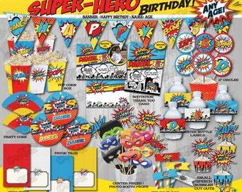 On Sale! SUPERHERO Birthday Party Package, SUPERHERO Party Decorations,Superhero Party Package, Super Hero Party, Superhero Mask, SuperHero