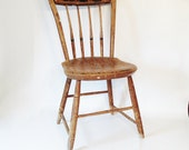 Chair - Antique Decorated Wood Farm House Windsor Chair - Petite Old Kitchen Chair - Wood Chair - Antique Chair - Primative Country Kitchen