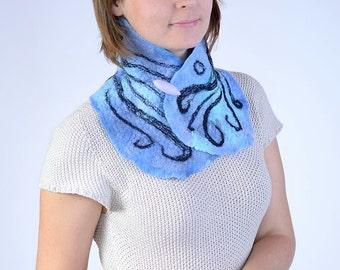 SALE -20% - Blue merino wool neckwarmer with black pattern - short felted neck scarf or scarflette - azure patterned neck warmer [IS66]