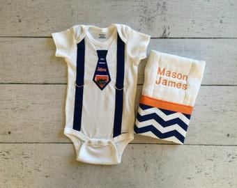 Personalized Baby Boy Tie Onesie and Burp Cloth, UF Gators set