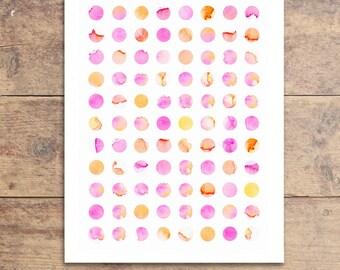 Pink Watercolor Dots - Modern Nursery Art - Pink Nursery Art - Pink Dot Painting - Watercolor Polka Dot - Pink Polka Dot Print