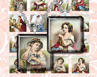 "RENAISSANCE -  Digital Collage Sheet – 1"" & 1.5"" squares – Printable Download for Pendants, Earrings, Charms"