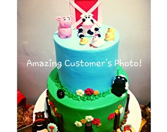 4  Farm Animal Cake Toppers! Fondant & Gumpaste Pig, horse, cow and sheep!