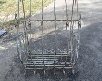 Vintage Wrought Iron Hanging Basket / Planter