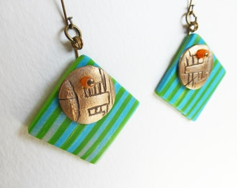 Colorful Geometric Dangle Earrings