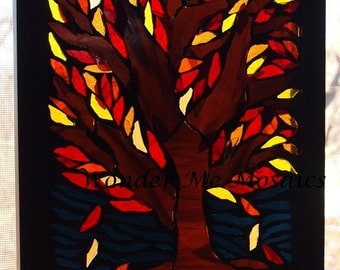 Stained Glass Mosaic on Glass - Autumn Tree at Dusk