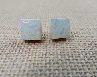 Petite Colorful Candy Scrabble Tile Post Earrings - Gifts for Her - Gifts Under 5