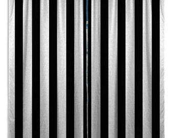 black and white striped curtains etsy au