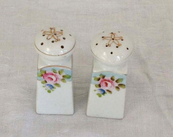 Vintage White and Aqua Blue Salt and Pepper Shakers with Pink Roses. Made in Japan