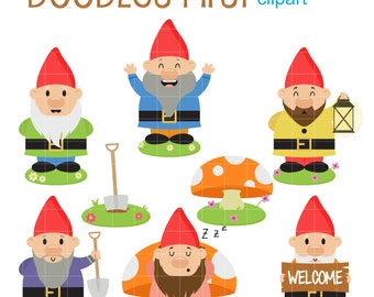 Happy Garden Gnomes Digital Clip Art for Scrapbooking Card Making Cupcake Toppers Paper Crafts