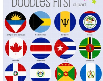 North American (1) Flags Collage Sheets for Scrapbooking Card Making Cupcake Toppers Paper Crafts Digital Collage Sheet