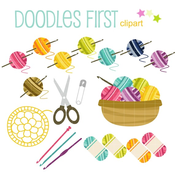 Crochet Fun Digital Clip Art for Scrapbooking Card Making Cupcake ...