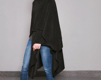 Fleece Shawl, Black Shawl, Wraps Shawls, Midi, Long Shawl, Poncho Wrap, Cape Shawl, Shawls And Wraps, Womens Shawls