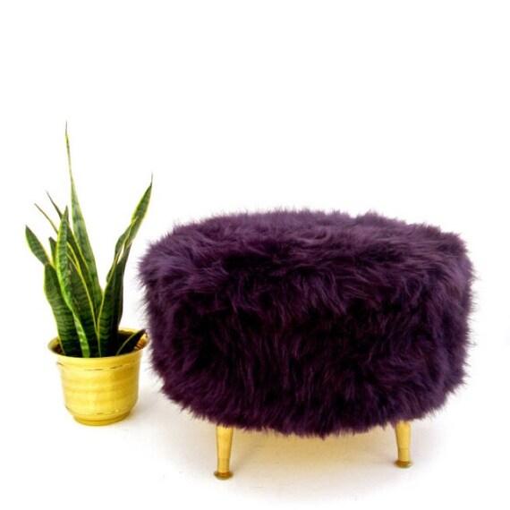 Large Aubergine Faux Fur Round Pouf Ottoman By