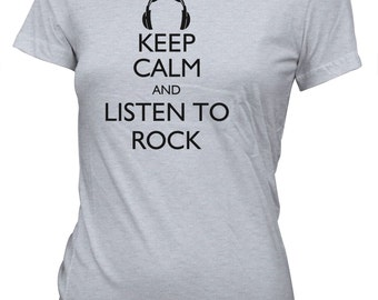 Junior's Keep Calm and Listen to Rock Funny T-Shirt Music Drums Guitar Band Tee