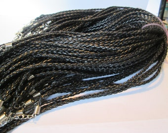 Braided leather necklace  Black 17.5 inches  4 for 3 dollars