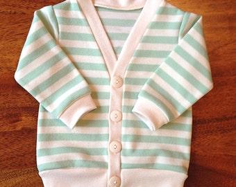 Mint Stripe Cardigan, Baby Cardigan, Boys Cardigan, Girls Cardigan, Easter Outfit, Toddler Cardigan, Boys Sweater, Stripe cardigan
