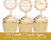 Printable Cupcake Toppers Cake Circles - Girl First Birthday Gold Glitter Blush Pink Confetti Stars Twinkle Star - Big One INSTANT DOWNLOAD