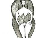 Fine Art Print, Bear Hug, black and white illustration, ink drawing, female nude, bear, love