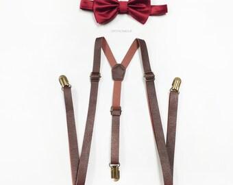 Brown leather Suspenders, Royal Red Bowtie, brown leather suspenders, bowtie set, Men's Suspenders, Barnyard Wedding, Groomsmen