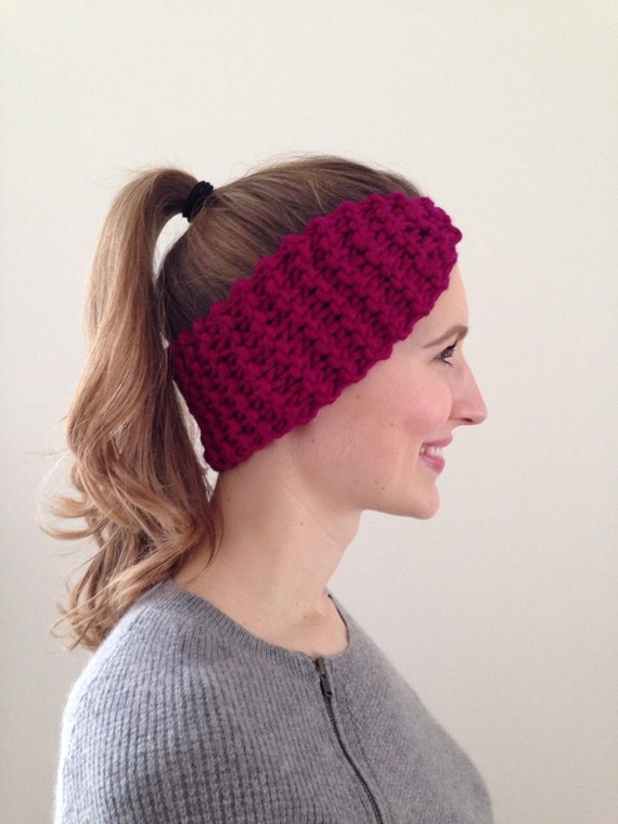 Warm winter headband light grey hand knit soft in garter stitch all wool