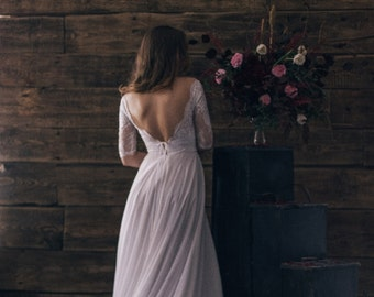 Vintage inspired open back lace wedding