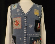 Ugly Christmas Sweater Vest - (Size: Small), Christmas Vest, Blue Christmas Vest, Santa, Snowmen, Poinsettia, Christmas Tree, Snowflakes