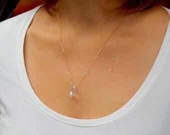 Swarovski crystal white moonstone gold necklace, gold Swarovski necklace, Swarovski crystal necklace 14 kt gold filled necklace, 020