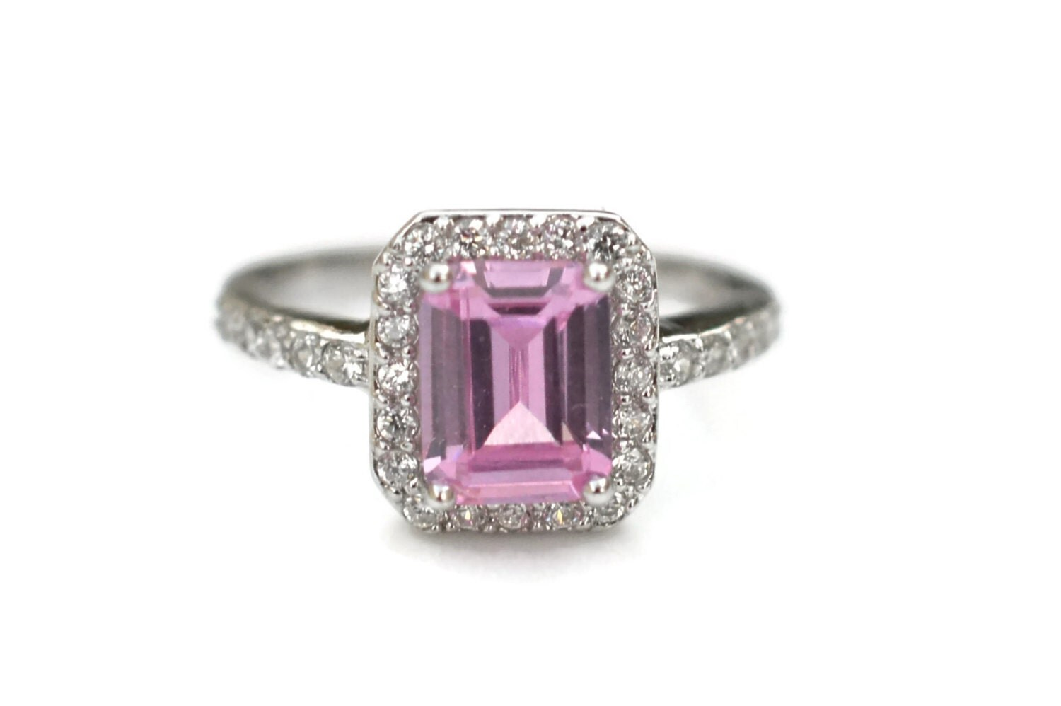 Size 6 Halo Pink Sterling Silver Cz Ring Emerald Cut Halo
