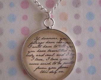 """Pride and Prejudice """"I love, I love, I love you."""" Necklace"""