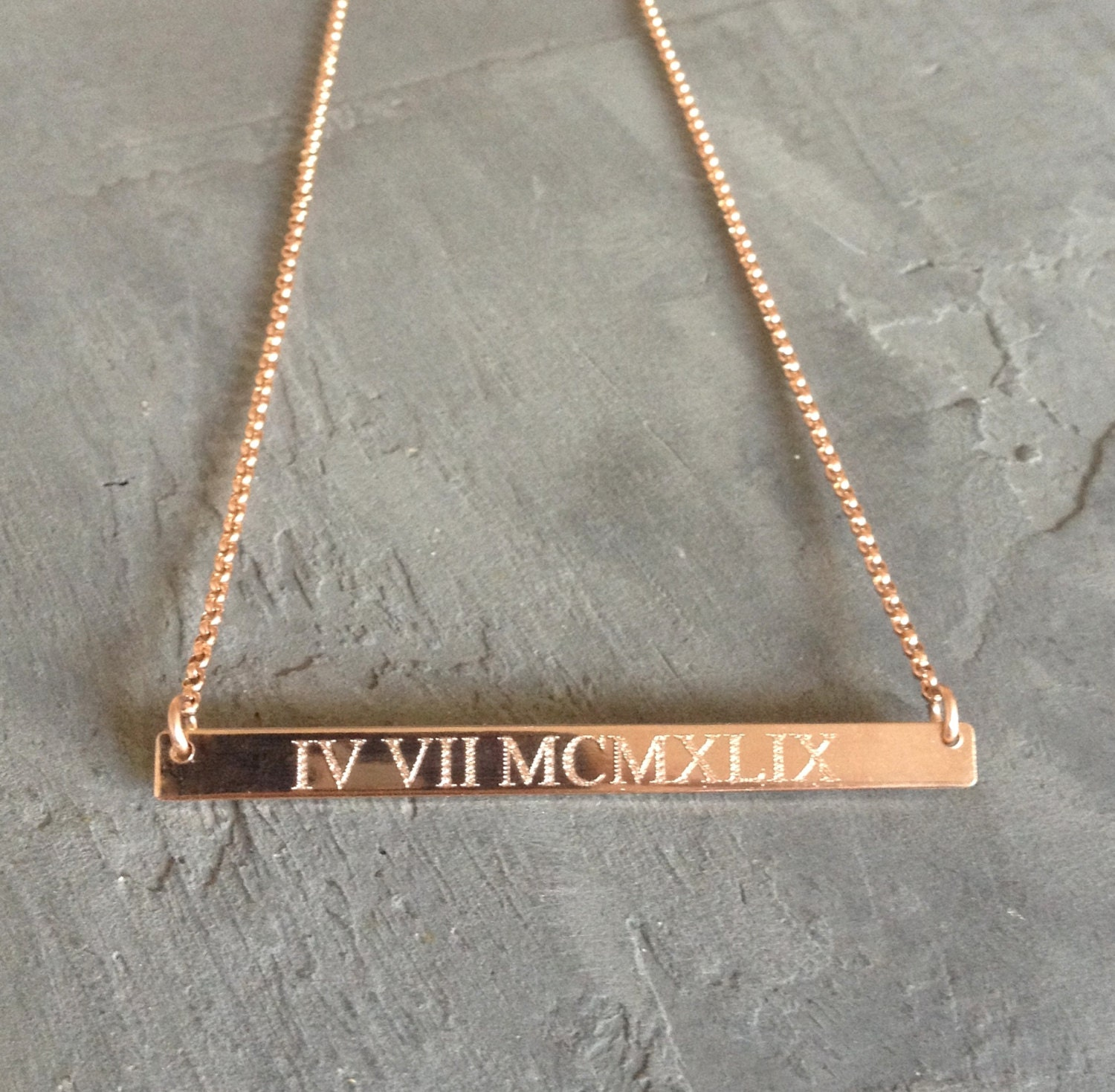 Roman Numeral Necklace Rose Gold Bar Necklace Gold