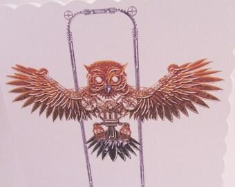 Steampunk Flying Owl Blank Card, Owl Card, Steampunk Card, UK