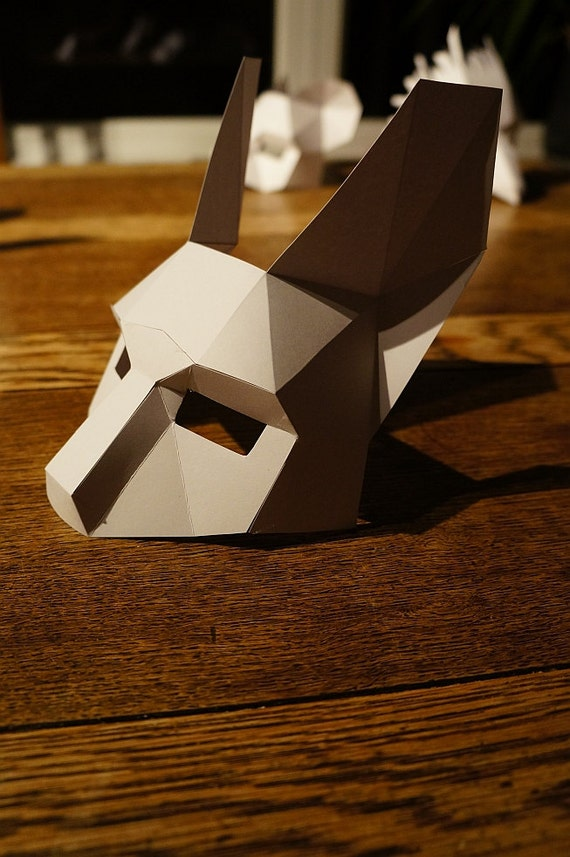 make a half face rabbit mask from recycled card. Black Bedroom Furniture Sets. Home Design Ideas