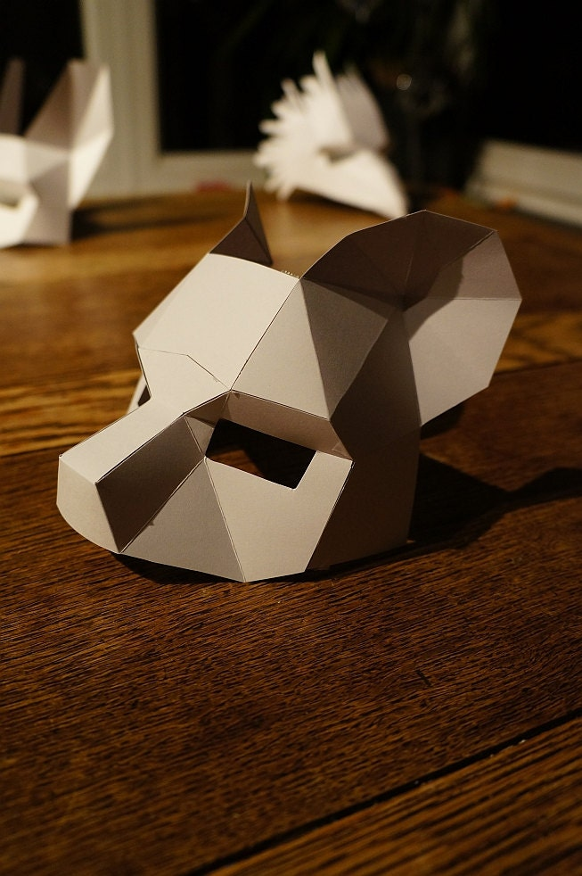 make a half face bear mask from recycled card. Black Bedroom Furniture Sets. Home Design Ideas