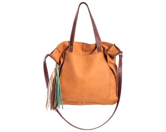 Leather tote, brown tote bag, soft leather purse, shopper bag, everyday bag, camel brown tote, buttery soft leather bag