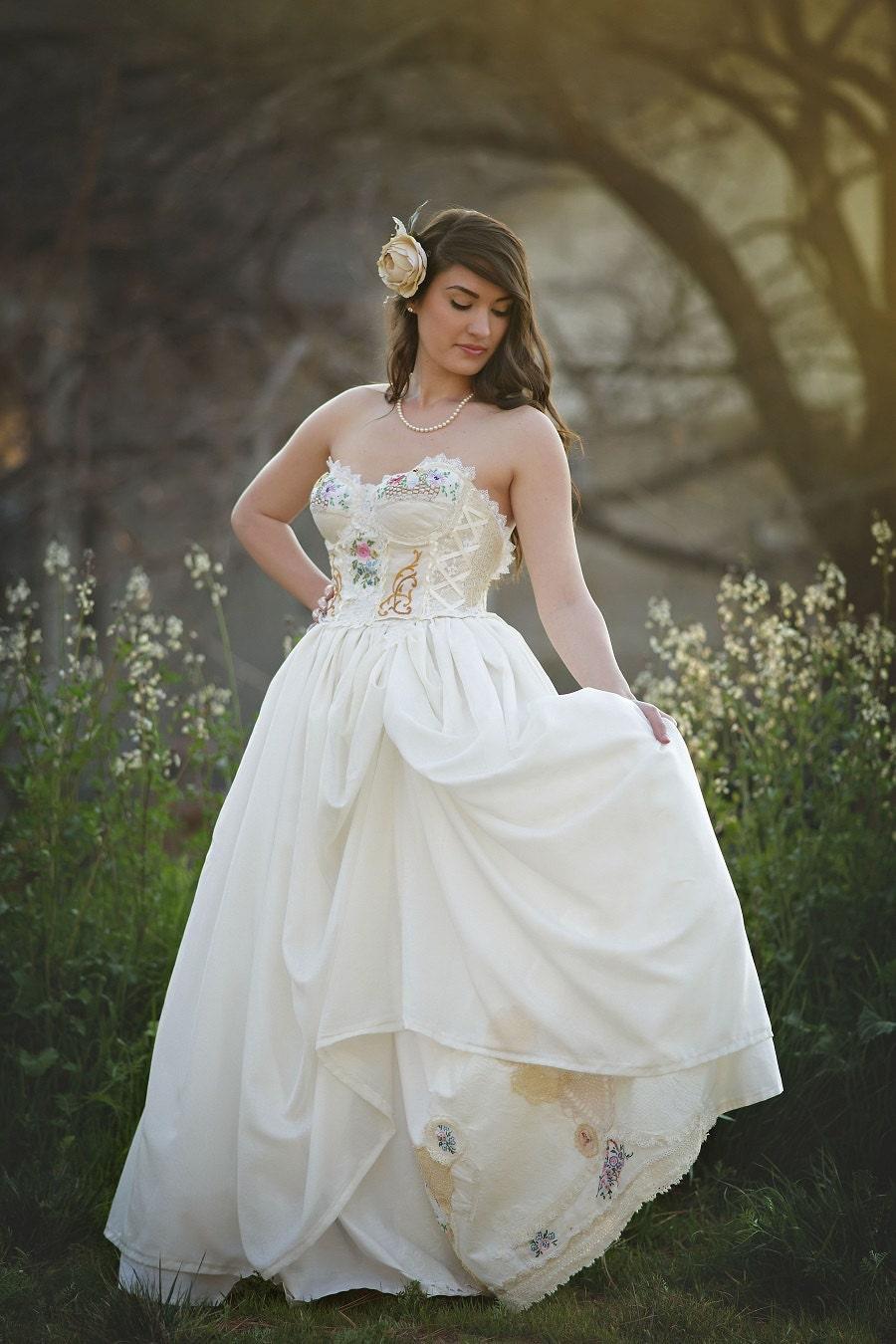 Storybook Romance Wedding Dress Unique Upcycled Vintage
