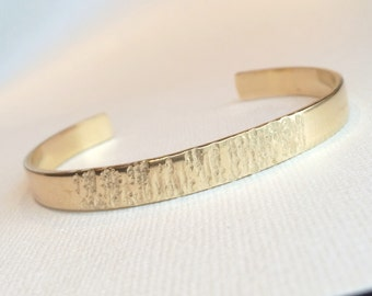 Textured Cuff Bracelet ~ Simple Hand Forged Half Hammered Brass Cuff ~ Minimal Gold Stacking Bracelet