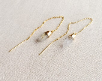 Quartz Threader Earrings ~ 14k Gold Filled Chain Threader Crystal Earrings