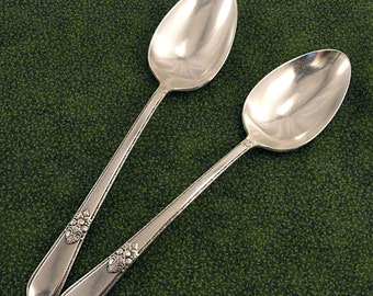 2 Serving Spoons Tablespoons 1847 Rogers Bros. ADORATION Vintage Silverplate Art Deco Silver Plate Flatware Silverware