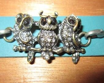 Teal Leather Bracelet, Gunmetal Owls, Owl Bracelet, Leather Bracelet, Teal Bracelet