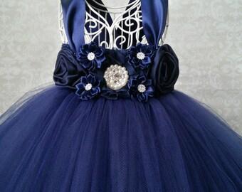 Navy Flower Girl Dress, Navy Wedding