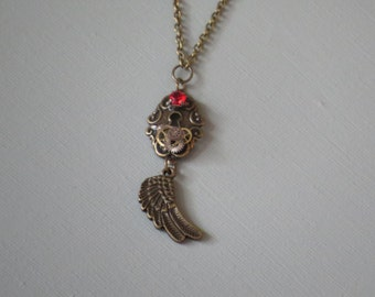 STEAMPUNK JEWELRY /Key Necklace / Angel Wing / Gear Necklace / Steam punk/ Guardian angel wing/ Gifts under 15/ Steampunk accessories/ Steam