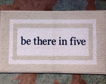 Be There in Five Namesake Decorative Doormat, Door mat, Cute Floor Mat , Area Rug  // Hand Painted 20x34 by Be There in Five