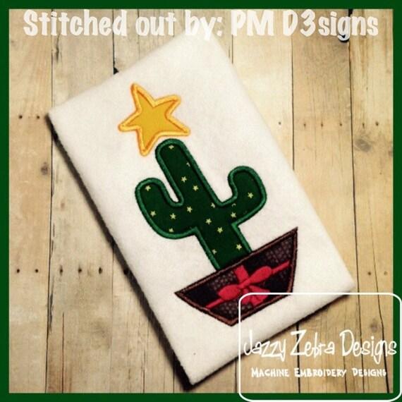 Christmas Tree Cactus Appliqué embroidery Design - Cactus Appliqué Design - Christmas Applique Design - Desert Christmas Appliqué Design
