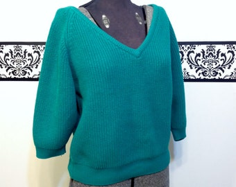 1980's Green V Neck Rockabilly Sweater by Ricki, Size large, Vintage 80's Flashdance Pin Up Pull Over Sweater, 80's Cable Knit Sweater