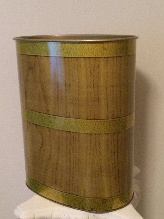 Mid century oval metal trash can vintage jv reed faux wood for Gold bathroom bin