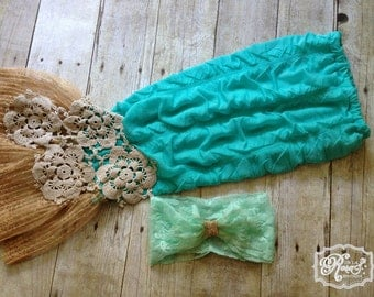 Shabby Mermaid Tail Photography Prop with Handmade Barnacle Doilies - Newborn Photography - Baby Girl Mermaid - Beach Baby - Knit Photo Prop