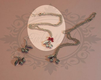 Necklace witch metal cherry  and leaf, dark silver color, metal bow ribbon- goth pin up rockabilly kawaii lolita retro